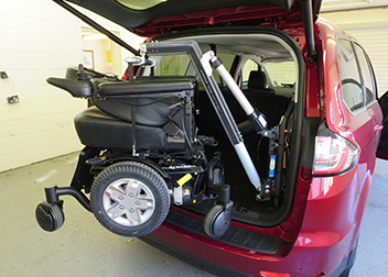 Ford Galaxy 150kg 4 Way Hoist fitted by David Relph Vehicle Adaptations