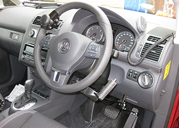 VW Touran Push/Pull Brake & Accelerator with Indicator Switch and Quick Release Steering Ball fitted by David Relph Vehicle Adaptations
